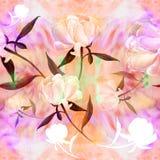 Pivoines - fleurs et feuilles Composition décorative sur un fond d'aquarelle Motifs floraux Configuration sans joint Photo stock
