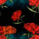 Pivoines - fleurs et feuilles Composition décorative sur un fond d'aquarelle Motifs floraux Configuration sans joint Images stock