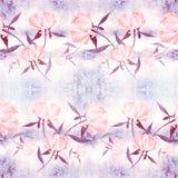 Pivoines - fleurs et feuilles Composition décorative sur un fond d'aquarelle Motifs floraux Configuration sans joint Image stock