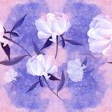 Pivoines - fleurs et feuilles Composition décorative sur un fond d'aquarelle Motifs floraux Configuration sans joint Photographie stock