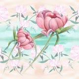Pivoines - fleurs et feuilles Composition décorative sur un fond d'aquarelle Motifs floraux Configuration sans joint Employez le  Images libres de droits
