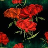Pivoines - fleurs et feuilles Composition décorative sur un fond d'aquarelle Motifs floraux Configuration sans joint Employez le  Image libre de droits