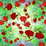Pivoines - fleurs et feuilles Composition décorative sur un fond d'aquarelle Motifs floraux Configuration sans joint Employez le  Photo stock