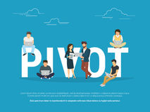 Pivot concept illustration of business people working together as team Stock Photo