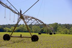 Pivot Irrigation in Farmland Stock Photo