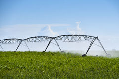Pivot irrigation of sugar cane fields. Mauritius Royalty Free Stock Photo