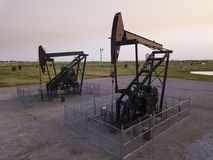 Pivot oil wells on the plains of Oklahoma, USA royalty free stock images