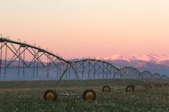 Pivotez le système d'irrigation avec la chaîne de montagne à l'arrière-plan Images stock