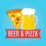 Piwa i pizzy projekta płaska ilustracja Jedzenie Zdjęcie Stock