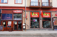 Piwiarnia bar. Bar called Piwiarnia close by the old square of the city in Wroclaw, Poland stock photo