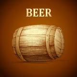Piwna baryłka dla etykietki, pakunek rocznik lufowy Oktoberfest ilustracji