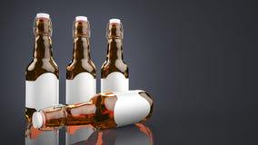 Piwna butelka z pustą etykietki stroną strona - obok - Obrazy Stock