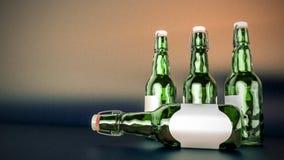 Piwna butelka z pustą etykietki stroną strona - obok - Obraz Stock