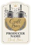 Piwna etykietka z pszenicznymi ucho i browar produkcją royalty ilustracja