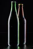 piwne butelki silhouette dwa Fotografia Stock
