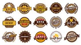 Piwne etykietek odznaki Retro piwo browar, lager butelki odznaka i rocznika piwny emblemat, odizolowywaliśmy wektorowego ilustrac ilustracja wektor