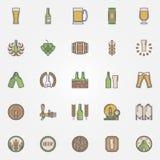Piwne kolorowe ikony ustawiać ilustracja wektor