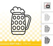 Piwnego kubka czerni prostej linii wektorowa ikona prętowy artykuły ilustracji