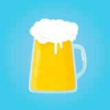 Piwnego szkła płaskiej kreskówki ilustracyjna ikona w błękicie Obraz Stock