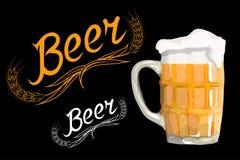 piwnego szkła odosobniony biel Festiwalu piwa logo Zdjęcie Stock