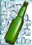piwnej butelki sześcianów lód ilustracji