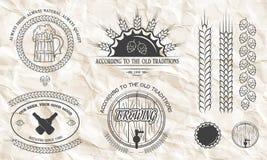 Piwni emblematy, etykietki, odznaki Obrazy Stock