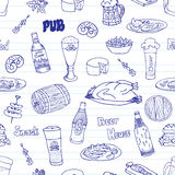 Piwny festiwalu doodle wzór Fotografia Stock