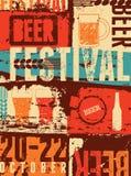 Piwny festiwalu rocznika stylu grunge plakat retro ilustracyjny wektora Zdjęcia Stock