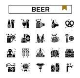 Piwny glifu projekta ikony set royalty ilustracja