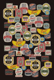 Piwny menu projekt z retro piwnymi etykietkami również zwrócić corel ilustracji wektora royalty ilustracja