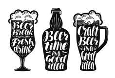 Piwo, ale, lager etykietki set Alkoholiczny napój, napój, pub, browaru symbol lub ikona, Literowanie, kaligrafia wektor royalty ilustracja
