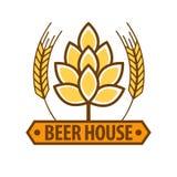 Piwo domu napoju etykietki projekta sztuki płaski wzór na bielu Zdjęcie Stock