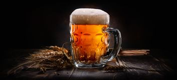 Piwo na czarny Tle Obraz Royalty Free