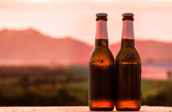 Piwo na zmierzchu Zdjęcie Royalty Free