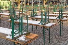 Piwo ogród w zimie Zdjęcia Stock