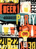 Piwo rocznika stylu grunge Partyjny typographical plakat retro ilustracyjny wektora Zdjęcie Stock