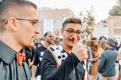 PIWO SHEVA IZRAEL, MARZEC, - 01, 2018: Purim ulicy maskarada na ulicie w piwie Szczęśliwy purim dzień w Izrael Obrazy Stock