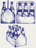 Piwo sześć paczek w trzy pudełkach Fotografia Stock