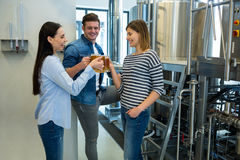 Piwowarowie wznosi toast piwa przy browarem Obraz Stock