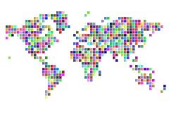 Pixéis quadrados do mapa do mundo Imagens de Stock Royalty Free