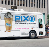 PIX 11 Morning News. WPIX 11  is an independent television station in New York City, New York PIX 11  broadcasts daily  morning news  from 4 a.m. to 9 a.m Royalty Free Stock Photo