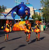Disneyland Pixar Parade The Incredibles. Pixar animated characters from The Incredibles are featured in Disneyland Parade Royalty Free Stock Photography