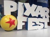 Pixar Fest 3d logo in Disneyland shop, California royalty free stock images