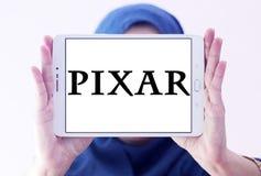 Pixar logo. Logo of the American computer animation film studio pixar on samsung tablet holded by arab muslim woman Stock Photography