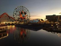 Pixar Pier Disneyland Los Angeles at night landscape. Pixar Pier Disneyland Los Angeles at night portrait USA Walt Disney royalty free stock photo