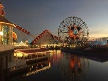 Pixar Pier Disneyland Los Angeles at night. Portrait USA Walt Disney royalty free stock photography