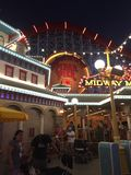 Pixar Pier Disneyland Los Angeles at night Portrait. Close up stock photo