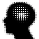 Pixeated profile with idea symbol. Vector illustration Royalty Free Stock Photography