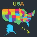 PIXELöversikt av Amerikas förenta stater stock illustrationer