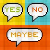 pixel à 8 bits oui aucune peut-être bulles de la parole Photo libre de droits